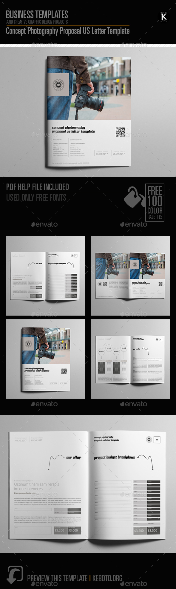 Concept Photography Proposal US Letter Template - Proposals & Invoices Stationery