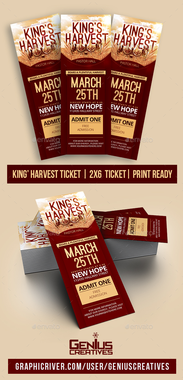 GraphicRiver King's Harvest Church Ticket Template 20634708