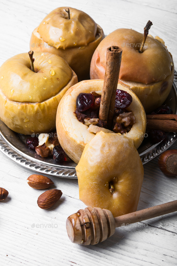 baked autumn apples - Stock Photo - Images