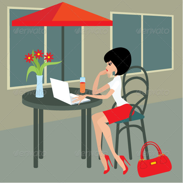Young woman with the laptop in cafe - People Characters