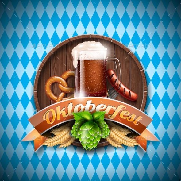 Oktoberfest Vector Illustration with Dark Beer - Food Objects