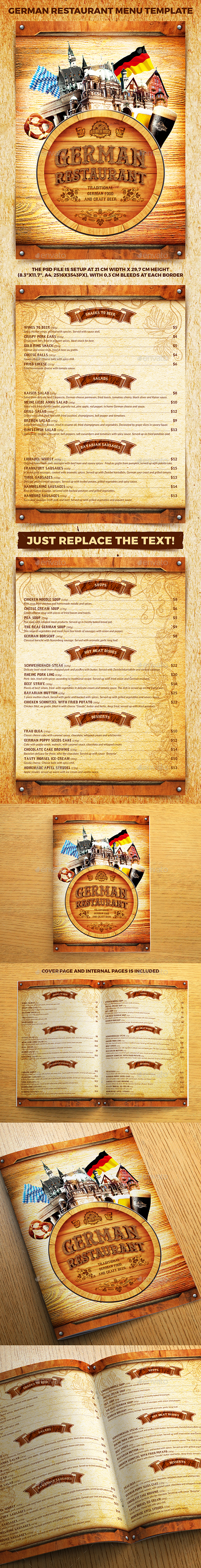 German Restaurant Menu Template - Food Menus Print Templates