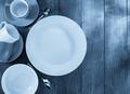ceramic dishes set on wood