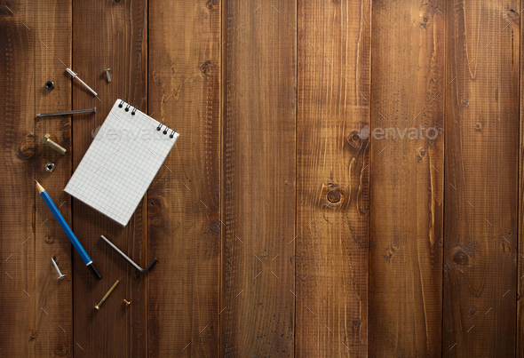 construction tools on wooden  background - Stock Photo - Images