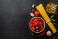 tomato sauce in bowl on black background - PhotoDune Item for Sale