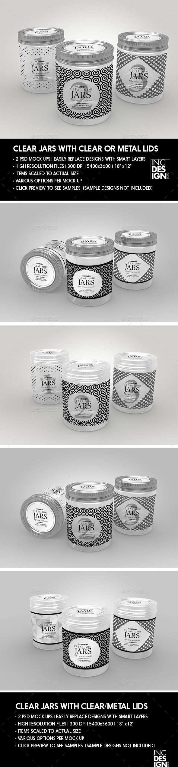 Clear Jars Packaging Mock up with Clear or Metal Lids - Packaging Product Mock-Ups