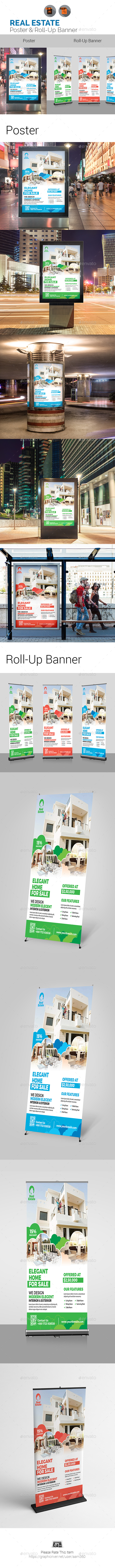 Real Estate Poster + Roll-Up Template - Signage Print Templates