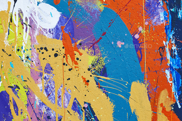 Multicolored vivid and textured gouache abstract background. Horizontal - Stock Photo - Images