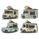 Retro Colored Ice Cream Transport Set