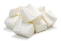 Pile of Feta cheese pieces, paths