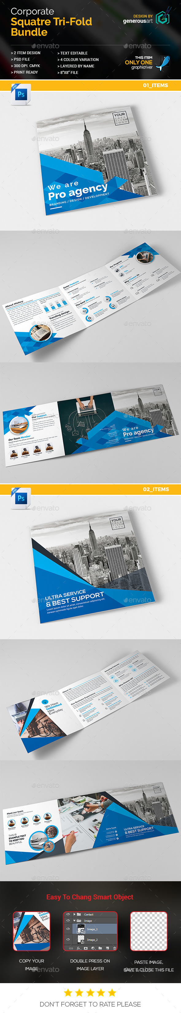 Bundle_Square Tri-Fold 2 in 1 - Corporate Brochures