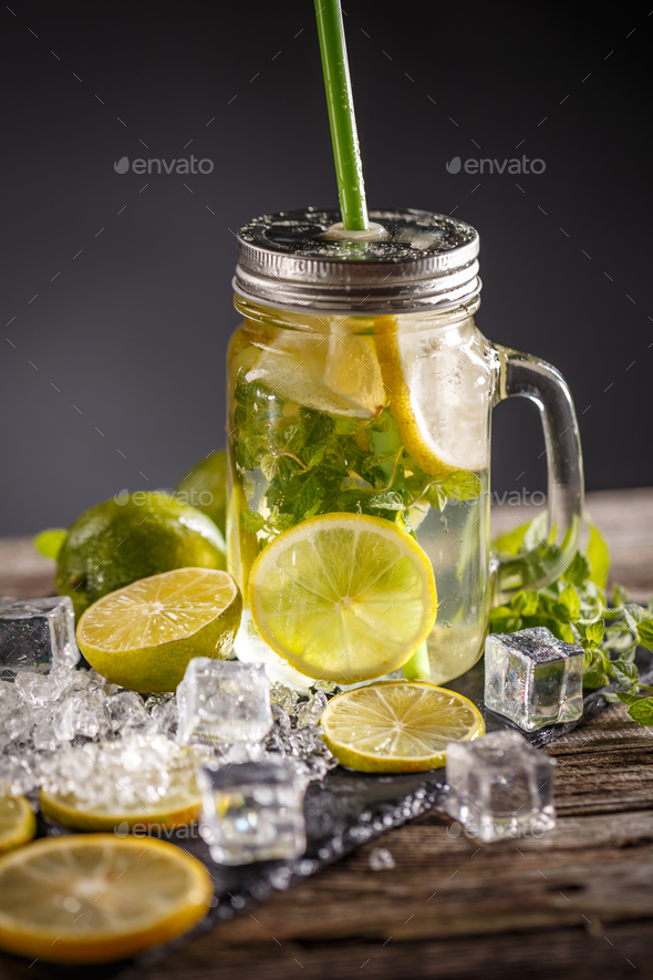 Lemonade in the glass jar - Stock Photo - Images