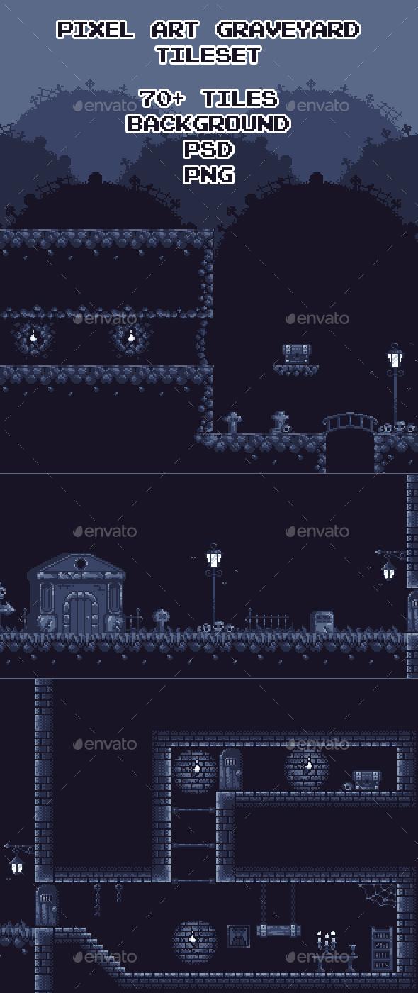 GraphicRiver Graveyard Pixel Art Tileset 20633789