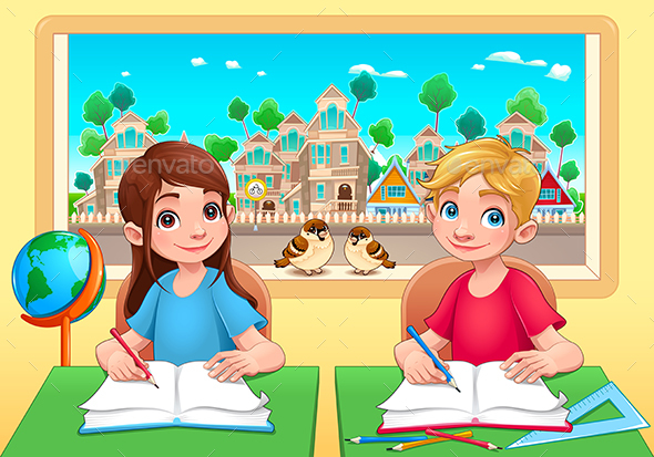 Young Students Boy and Girl in the Classroom - People Characters