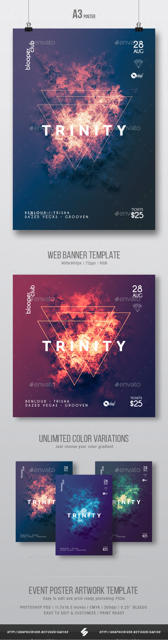 GraphicRiver Trinity Progressive Party Flyer Poster Artwork Template A3 20635929