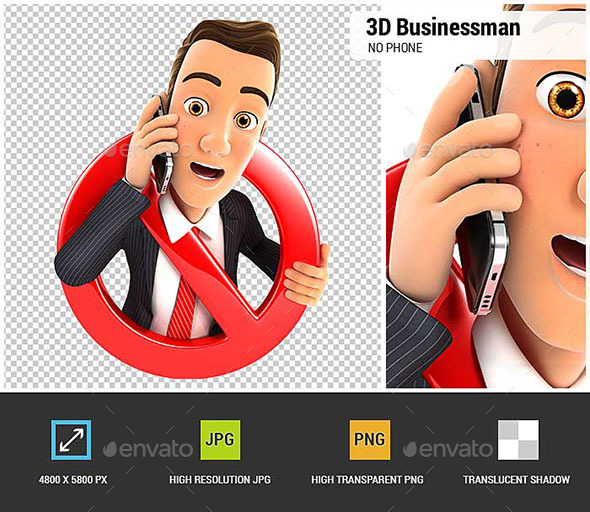 3D Businessman on Phone Surrounded by a Forbidden Sign - Characters 3D Renders