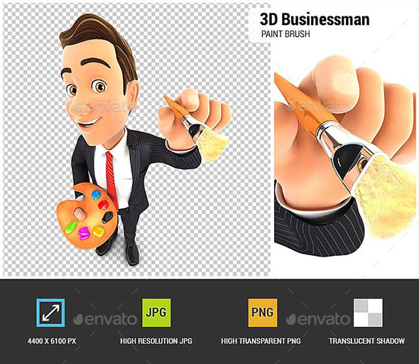 3D Businessman with Color Palette and Paint Brush - Characters 3D Renders