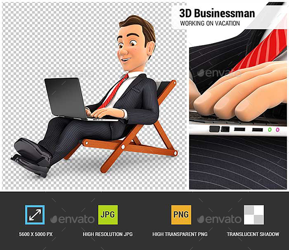 3D Businessman Working on Vacation - Characters 3D Renders