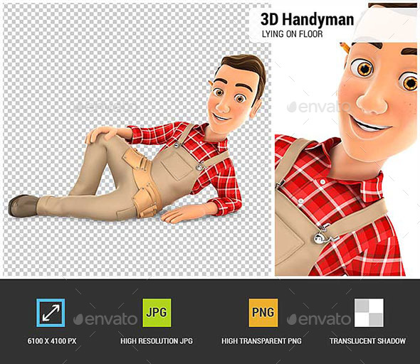 3D Handyman Lying on the Floor - Characters 3D Renders