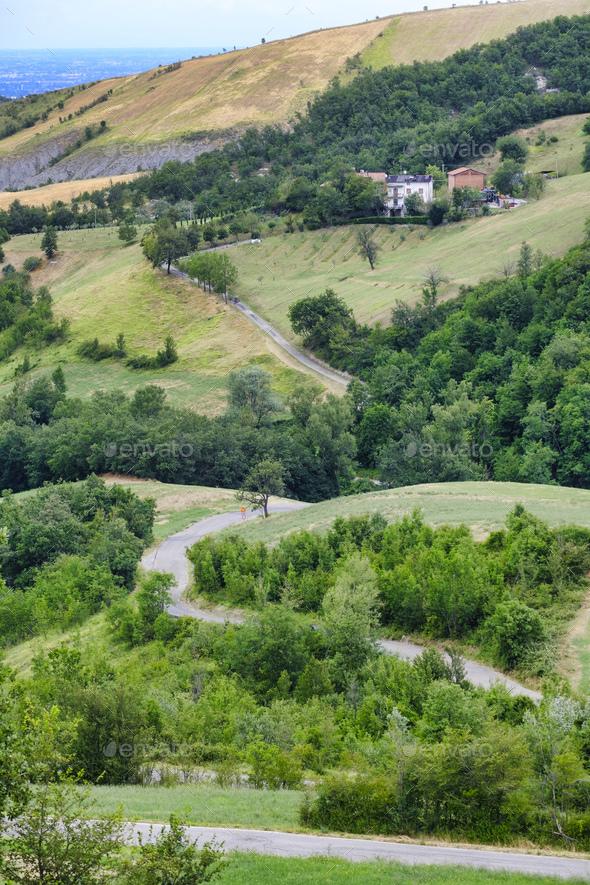 Summer landscape near Serramazzoni (Modena, Italy) - Stock Photo - Images