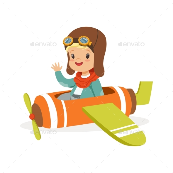 GraphicRiver Boy in Pilot Costume Flying Toy Plane 20643683