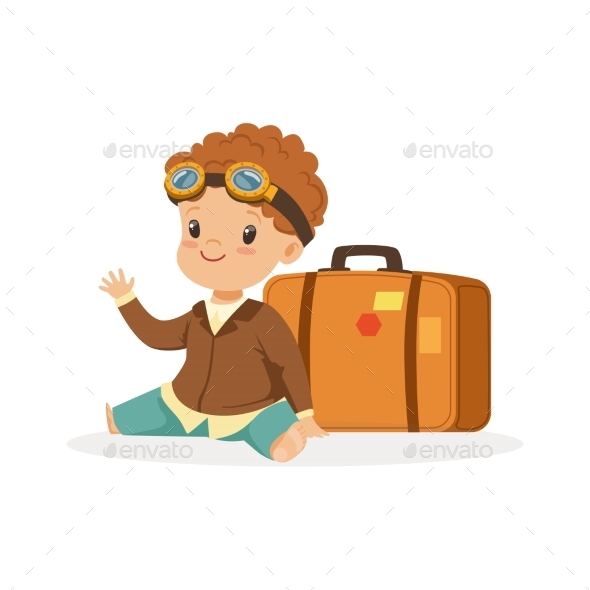 Boy in Pilot Glasses Sitting Next to Luggage - People Characters