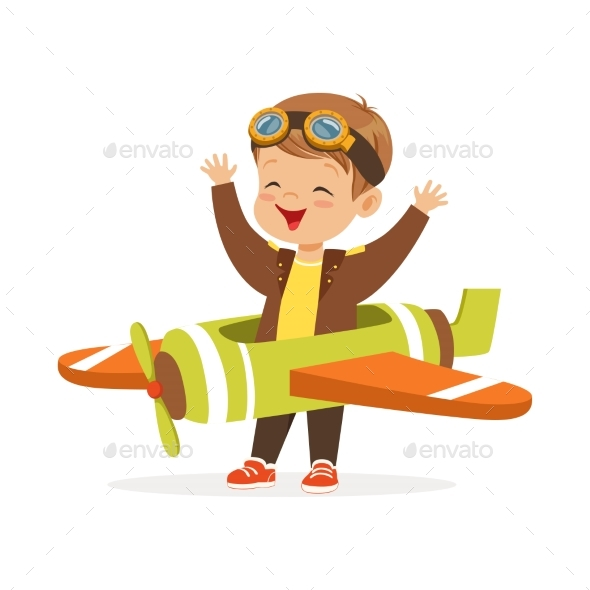 Boy in Pilot Costume Playing Toy Plane - People Characters