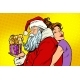 Santa Claus and Woman Surprise