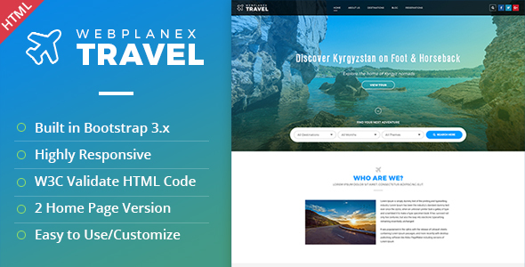 Image of Tour & Travel HTML Template by WebPlanex