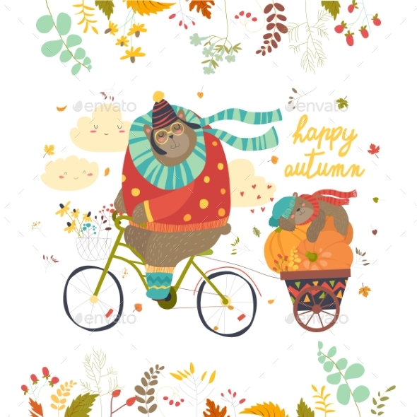 Bear Riding a Bicycle with Sleeping Cub - Animals Characters