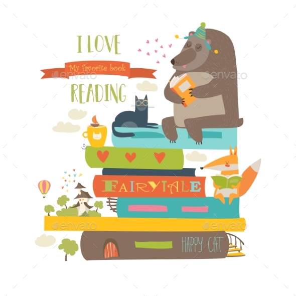 Cartoon Animals Reading Books - Miscellaneous Vectors