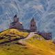 Scenic view of Tsminda Sameba church in Caucasus, Kazbegi, Georgia - PhotoDune Item for Sale