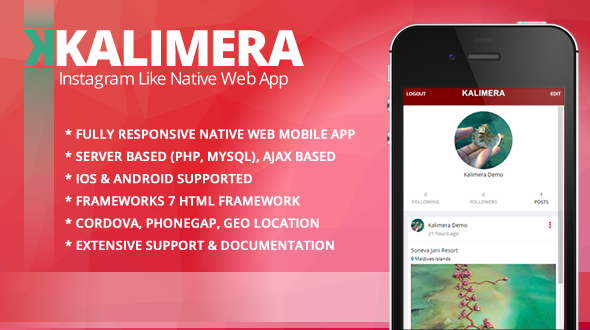 Kalimera  - Travel & Share Native Web Mobile App like Instagram - CodeCanyon Item for Sale