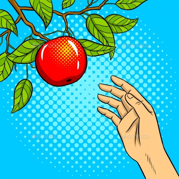 Hand Reaches for Apple on Tree Pop Art Vector - Food Objects