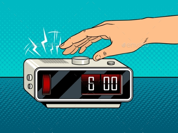 GraphicRiver Hand Turns Off the Alarm Pop Art Vector 20644331