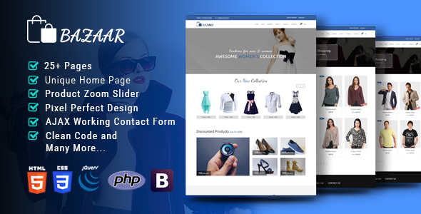 Image of Bazaar-Multipurpose Responsive eCommerce HTML Template