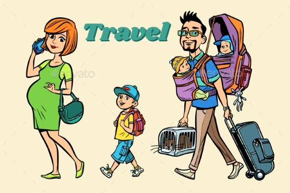 Caucasian Family Travelers - People Characters