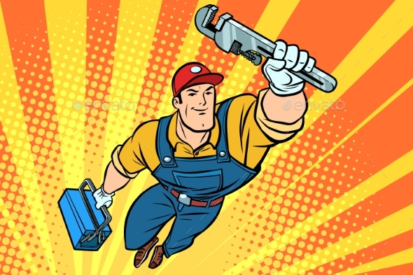 GraphicRiver Male Superhero Plumber with a Wrench 20644628