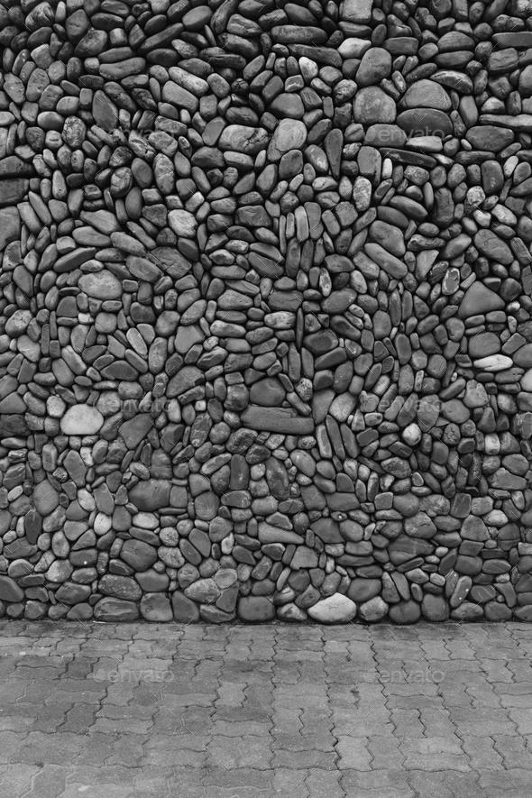 Black & white wall stones - Stock Photo - Images