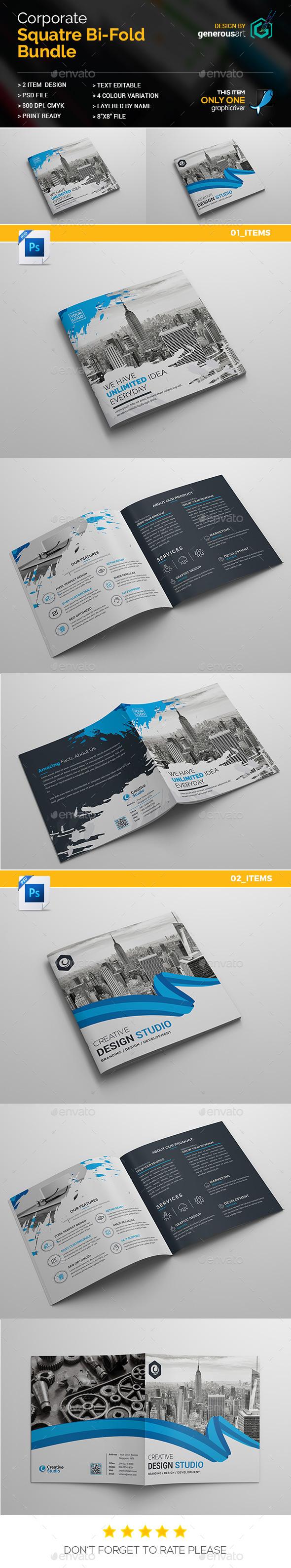 Square Bi-Fold 2 in 1 - Brochures Print Templates