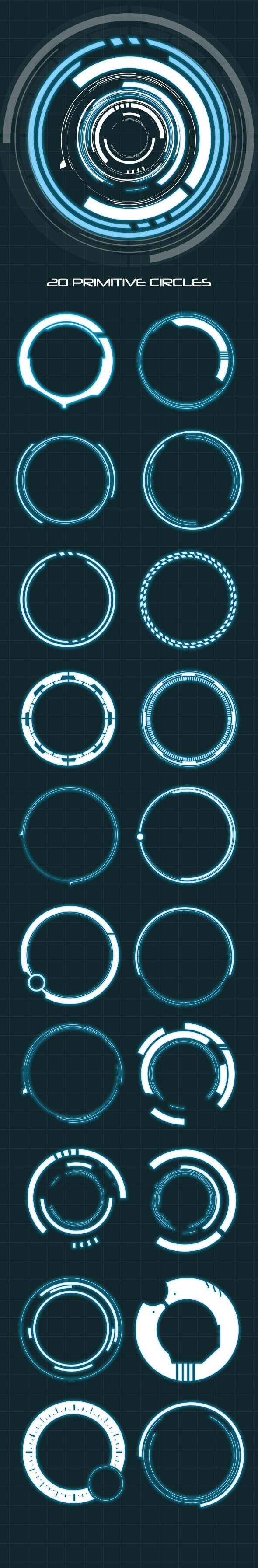Hi-Tech HUD Circles (20 Elements - Custom Shapes) - Shapes Photoshop