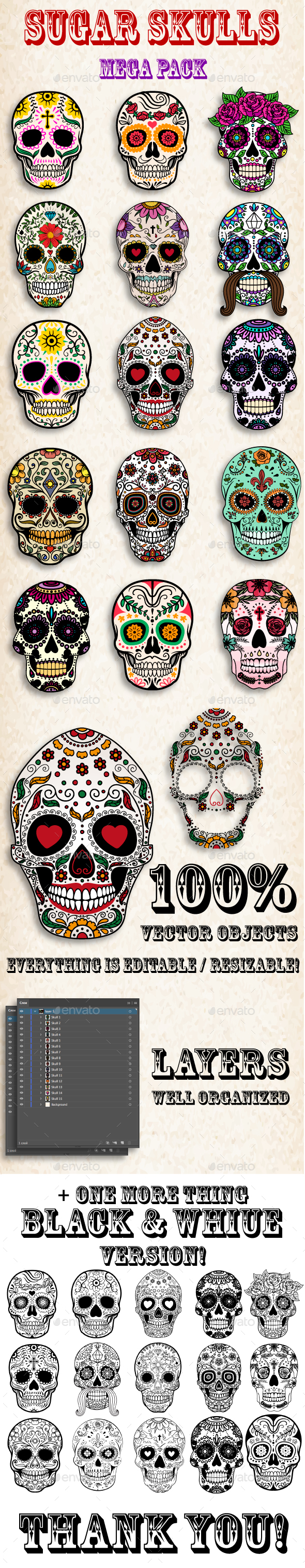 GraphicRiver Sugar Skulls Day of the Dead Pack 20627822