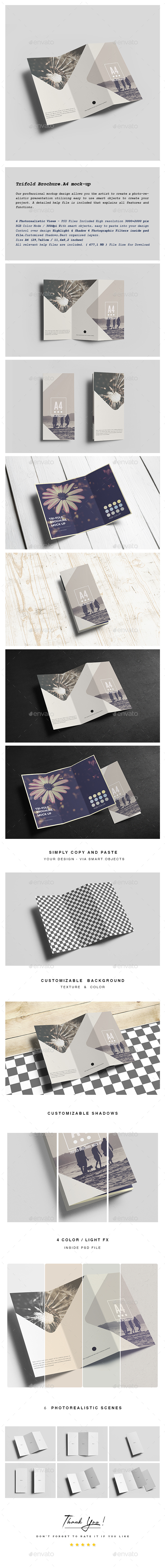 Trifold Brochure A4 Mock-up - Product Mock-Ups Graphics