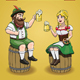 Cartoon Bavarian Man and Woman With Beer