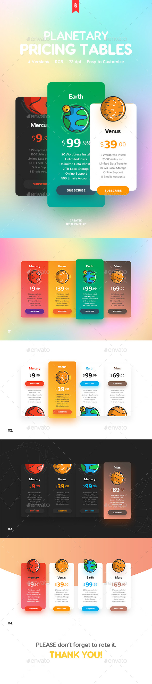 GraphicRiver Planetary Pricing Tables 20645446