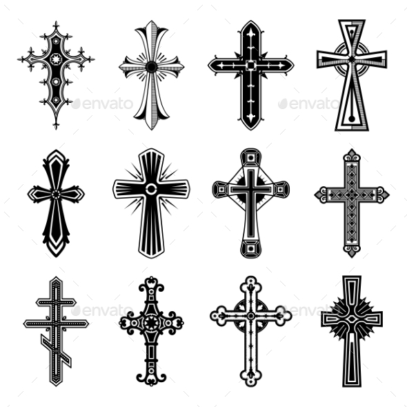 Set of Isolated Christian and Catholicism Crosses - Religion Conceptual