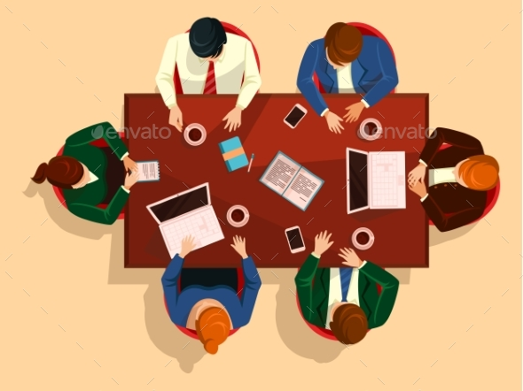 GraphicRiver People at Table Business Team Meeting 20645527