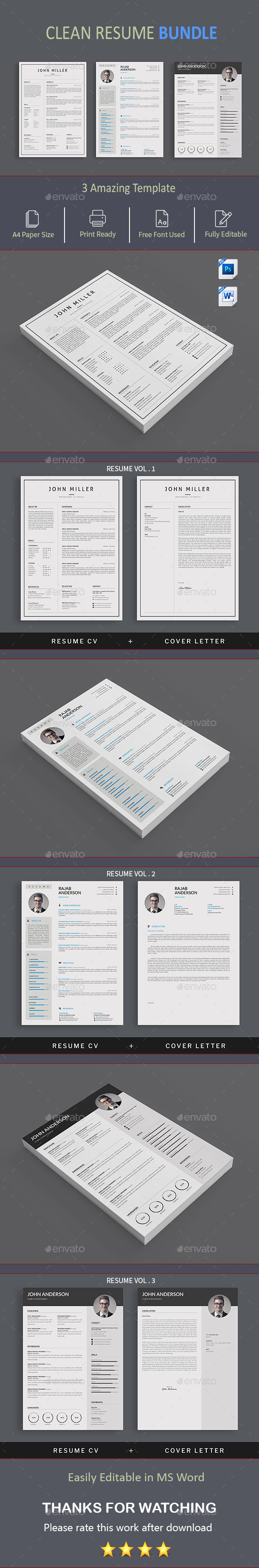 GraphicRiver Resume Bundle 20624968