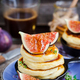 Cottage cheese pancakes with fresh figs and honey - PhotoDune Item for Sale