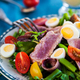 Tuna salad with tomatoes, boiled eggs, onion, anchovy and lettuc - PhotoDune Item for Sale